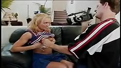 Hot blonde cheerleader gets her shaved box fingered then fucks